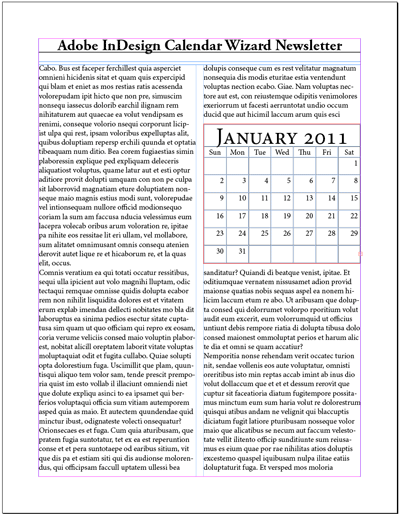 Example 2 - Inserting a Calendar into a Newsletter
