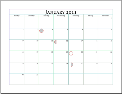 Example 8 Calendar With The Phases Of The Moon